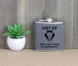 Suit Up - Will You Be My Groomsman Flask