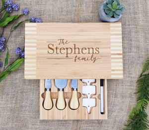 Last Name Family Script Cheese Board with Tools