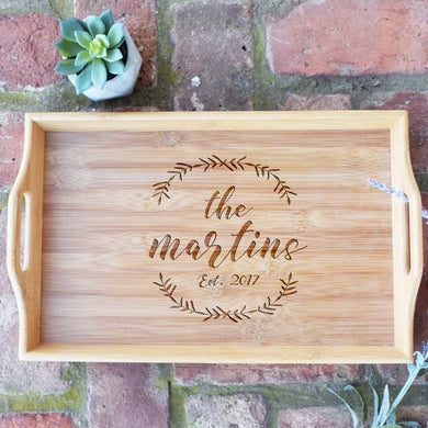 Personalized with Last Name and Wreath and Est. Date Bamboo Serving Tray