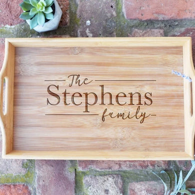 Personalized with Last Name Date Bamboo Serving Tray