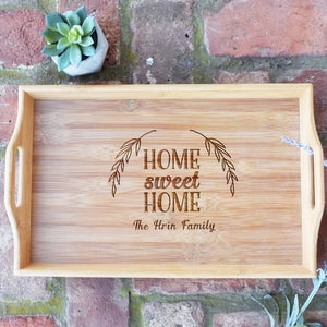 Home Sweet Home Personalized Bamboo Serving Tray