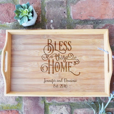 Bless This Home with Names and Est. Date Bamboo Serving Tray