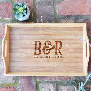 Initials with Est. Date Bamboo Serving Tray