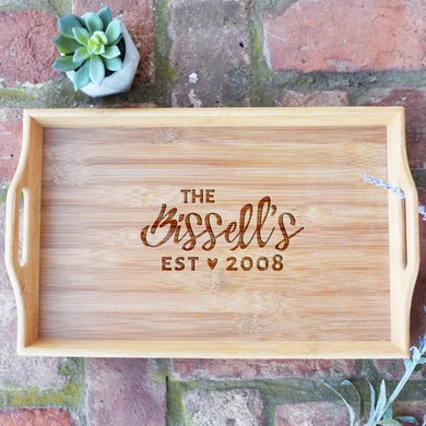 Personalized Last Name Est. Date Bamboo Serving Tray