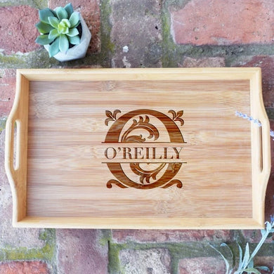 Personalized with Last Name Bamboo Serving Tray