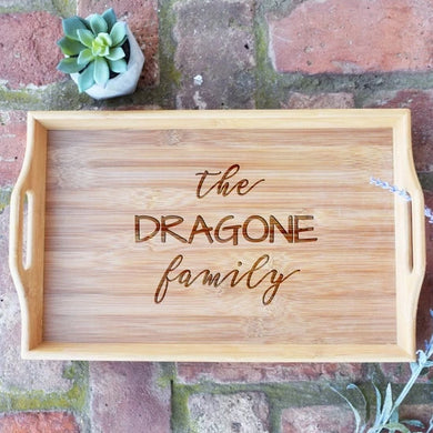 Personalized Family Bamboo Serving Tray