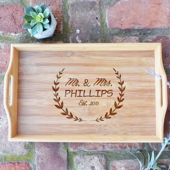 Mr. and Mrs. with Wreath and Est. Date Bamboo Serving Tray