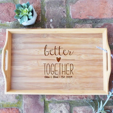 Better Together Personalized Names and Est. Date Bamboo Serving Tray