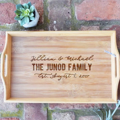 Personalized with First and Names and Est. Date Bamboo Serving Tray