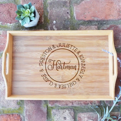 Personalized with First and Names Bamboo Serving Tray