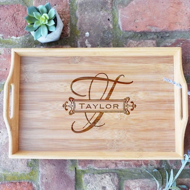 Monogrammed Bamboo Serving Tray