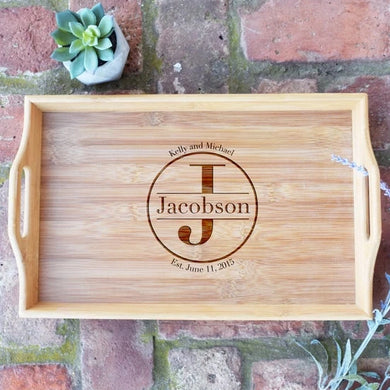 Monogrammed with Est. Date Bamboo Serving Tray