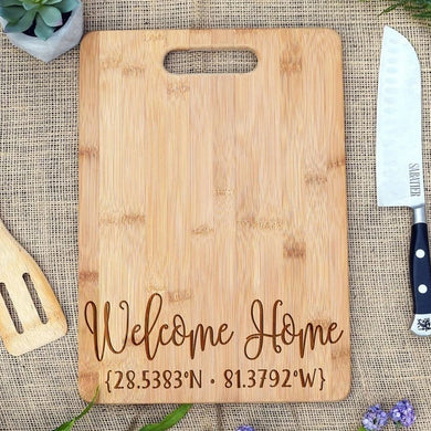 Welcome Home Coordinates Rectangular Board