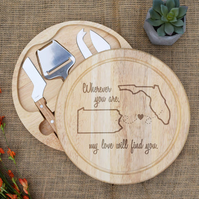 Wherever You are my Love will Find You Circular Cheese Board