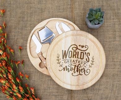 World's Greatest Mother Circular Cheese Board