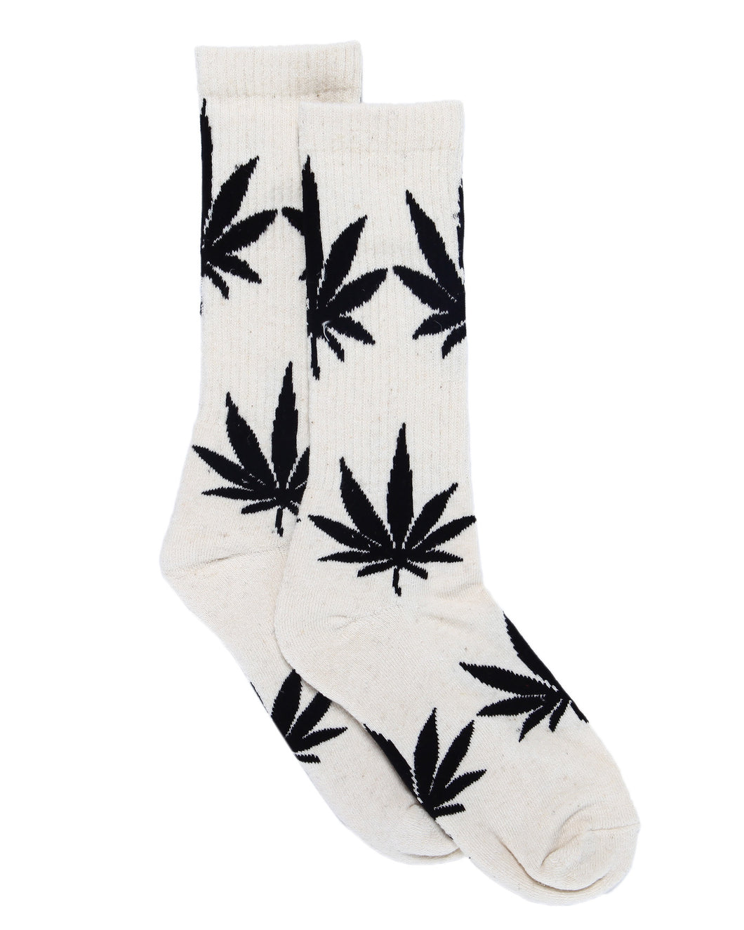 Hemp Leaf Crew Socks - White