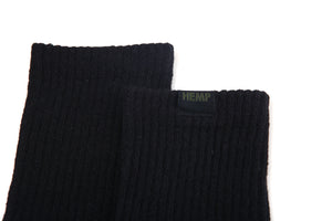 Hemp Label Crew Socks - Black