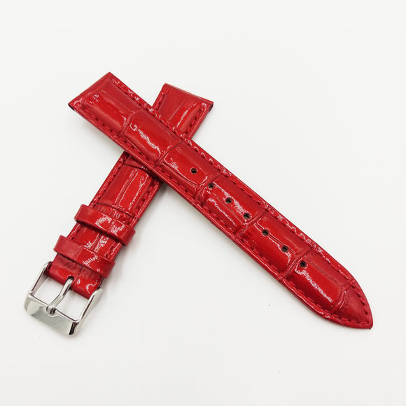 Red Alligator-Embossed Calf Leather Watch Strap w/ Buckle - Strapholic_錶帶工房, Rolex, IWC, Panerai, AP, Cartier, Tudor, Omega, Watch_Bands