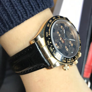 Black Alligator Leather Watch Strap With Clasp For Rolex - Strapholic_錶帶工房, Rolex, IWC, Panerai, AP, Cartier, Tudor, Omega, Watch_Bands