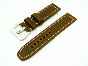 Dijon Orange Calf Leather Watch Strap w/ White Stitching & Buckle - Strapholic_錶帶工房, Rolex, IWC, Panerai, AP, Cartier, Tudor, Omega, Watch_Bands