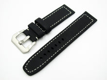 Black Calf Leather Watch Strap w/ White Stitching & Buckle - Strapholic_錶帶工房, Rolex, IWC, Panerai, AP, Cartier, Tudor, Omega, Watch_Bands