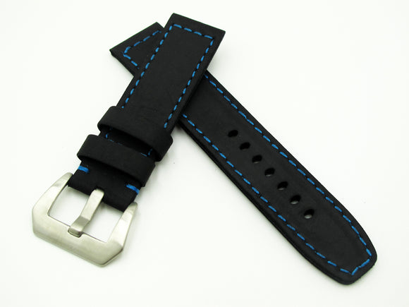 Black Calf Leather Watch Strap w/ Blue Stitching & Buckle - Strapholic_錶帶工房, Rolex, IWC, Panerai, AP, Cartier, Tudor, Omega, Watch_Bands