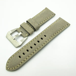 24mm Gray Italy Genesis Calf Leather Watch Strap w/ Buckle For Panerai - Strapholic_錶帶工房, Rolex, IWC, Panerai, AP, Cartier, Tudor, Omega, Watch_Bands