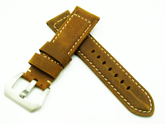 Deep Yellow Calf Leather Watch Strap w/ Buckle For Panerai - Strapholic_錶帶工房, Rolex, IWC, Panerai, AP, Cartier, Tudor, Omega, Watch_Bands