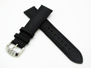 Black Vintage Style Calf Leather Watch Strap w/ Buckle - Strapholic_錶帶工房, Rolex, IWC, Panerai, AP, Cartier, Tudor, Omega, Watch_Bands