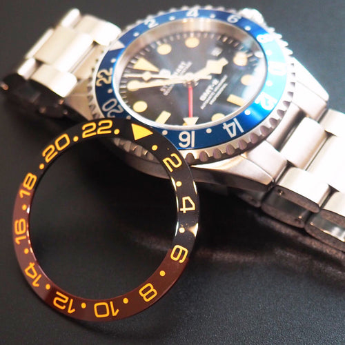 Rolex GMT Style Black / Barn Red Ceramic Bezel Insert - Strapholic_錶帶工房, Rolex, IWC, Panerai, AP, Cartier, Tudor, Omega, Watch_Bands