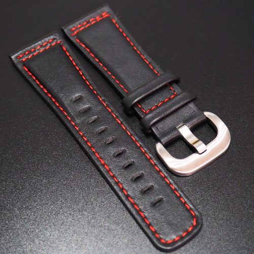 SevenFriday Style Black Calf Leather Red Stitching Watch Strap - Strapholic_錶帶工房, Rolex, IWC, Panerai, AP, Cartier, Tudor, Omega, Watch_Bands