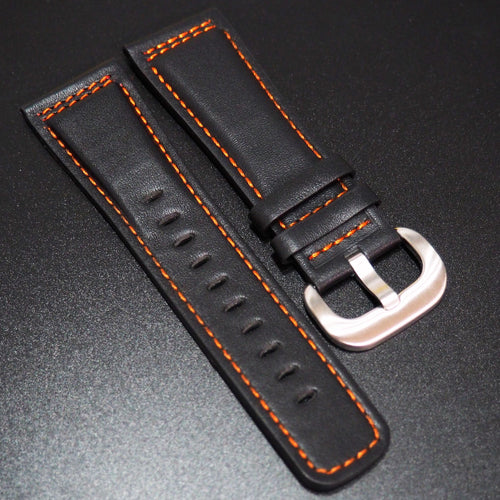 SevenFriday Style Black Calf Leather / Orange Stitching Watch Strap - Strapholic_錶帶工房, Rolex, IWC, Panerai, AP, Cartier, Tudor, Omega, Watch_Bands