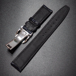 Deep Blue Cordovan Leather Watch Strap w/ Deployment Clasp For IWC - Strapholic_錶帶工房, Rolex, IWC, Panerai, AP, Cartier, Tudor, Omega, Watch_Bands