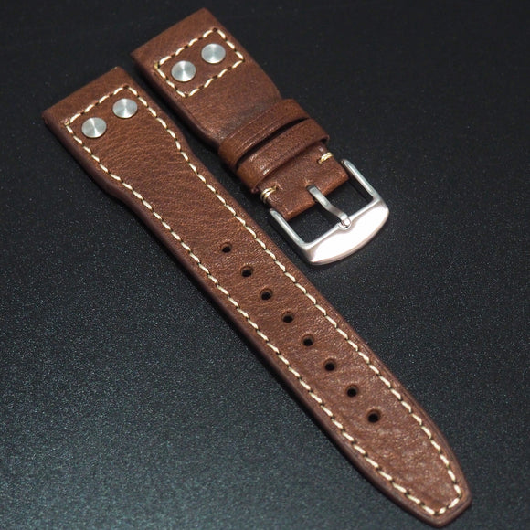 IWC Aviation Style Brown Calf Leather Handmade Watch Strap - Strapholic_錶帶工房, Rolex, IWC, Panerai, AP, Cartier, Tudor, Omega, Watch_Bands