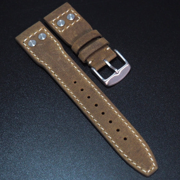 IWC Aviation Style Trombone Yellow Calf Leather Handmade Watch Strap - Strapholic_錶帶工房, Rolex, IWC, Panerai, AP, Cartier, Tudor, Omega, Watch_Bands