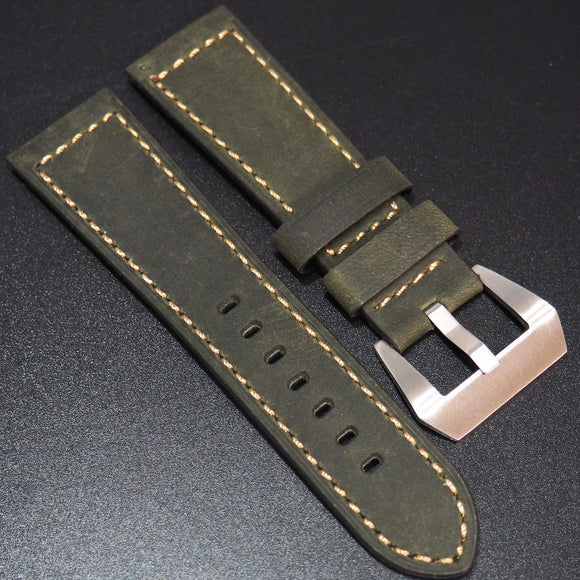 Olive Green Calf Leather Handmade Watch Strap - Strapholic_錶帶工房, Rolex, IWC, Panerai, AP, Cartier, Tudor, Omega, Watch_Bands
