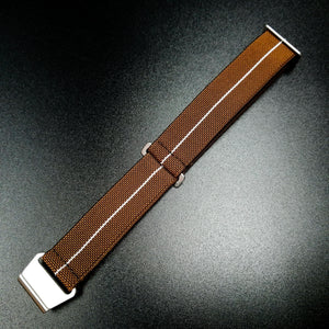 Brown / White Nato Style Elastic Webbing Nylon Watch Strap - Strapholic_錶帶工房, Rolex, IWC, Panerai, AP, Cartier, Tudor, Omega, Watch_Bands