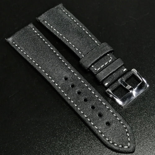 Blancpain Style Black Calf Leather Watch Strap w/ Green Stitching - Strapholic_錶帶工房, Rolex, IWC, Panerai, AP, Cartier, Tudor, Omega, Watch_Bands