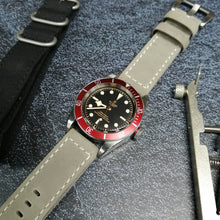 Gray Calf Leather Watch Strap w/ White Stitching & Buckle - Strapholic_錶帶工房, Rolex, IWC, Panerai, AP, Cartier, Tudor, Omega, Watch_Bands