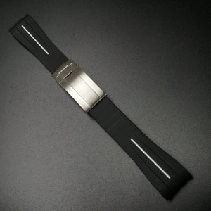 Black w/ White Line Rubber Watch Strap With Curved Ends & Clasp For Rolex - Strapholic_錶帶工房, Rolex, IWC, Panerai, AP, Cartier, Tudor, Omega, Watch_Bands