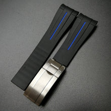 Black w/ Blue Line Rubber Watch Strap With Curved Ends & Clasp For Rolex - Strapholic_錶帶工房, Rolex, IWC, Panerai, AP, Cartier, Tudor, Omega, Watch_Bands