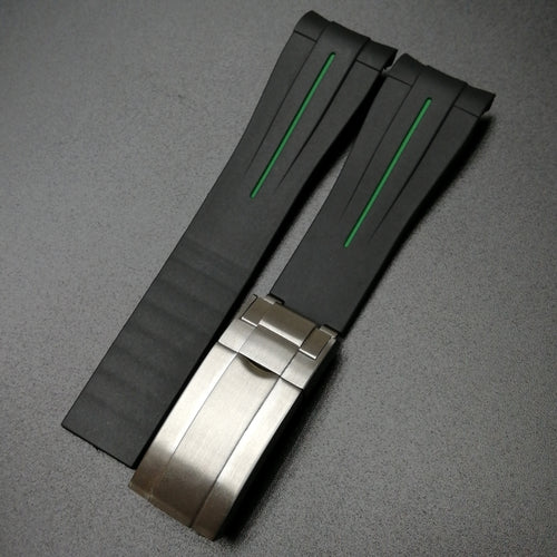 Black w/ Green Line Rubber Watch Strap With Curved Ends - Strapconcept_錶帶工房, Rolex_Leather, IWC_Strap, Panerai_Strap, AP_Rubber, Cartier_Leather, Tudor_Nato, Omega_Rubber, Watch_Straps
