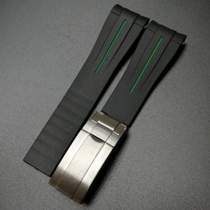 Black w/ Green Line Rubber Watch Strap With Curved Ends & Clasp For Rolex - Strapholic_錶帶工房, Rolex, IWC, Panerai, AP, Cartier, Tudor, Omega, Watch_Bands