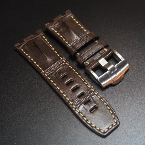 Premium Brown Alligator Leather w/ White Stitching Watch Strap For Audemars Piguet Royal Oak Offshore - Strapholic_錶帶工房, Rolex, IWC, Panerai, AP, Cartier, Tudor, Omega, Watch_Bands