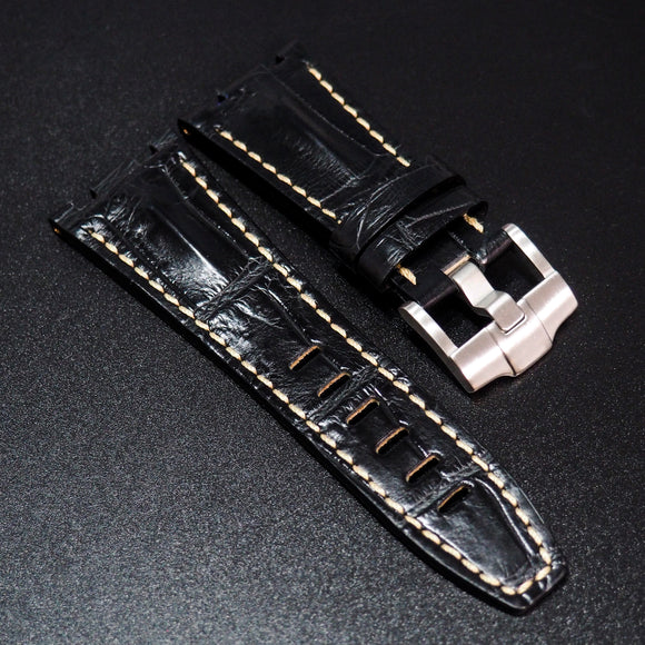 Premium Black Alligator Leather w/ White Stitching Watch Strap For Audemars Piguet Royal Oak Offshore - Strapholic_錶帶工房, Rolex, IWC, Panerai, AP, Cartier, Tudor, Omega, Watch_Bands