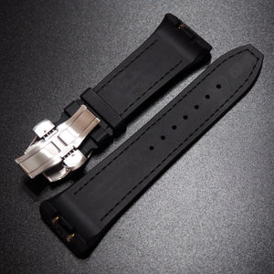 Frank Muller Style Black Calf Leather / Rubber Watch Strap with Blue Stitching & Deployment Clasp - Strapholic_錶帶工房, Rolex, IWC, Panerai, AP, Cartier, Tudor, Omega, Watch_Bands