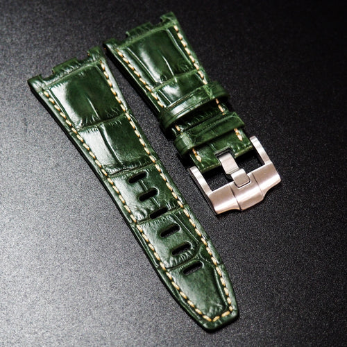 Premium Green Alligator Leather Watch Strap - Strapconcept_錶帶工房, Rolex_Leather, IWC_Strap, Panerai_Strap, AP_Rubber, Cartier_Leather, Tudor_Nato, Omega_Rubber, Watch_Straps