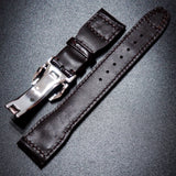 Mahogany Red IWC Aviation Alligator Leather Watch Strap w/ Deployment Clasp - Strapholic_錶帶工房, Rolex, IWC, Panerai, AP, Cartier, Tudor, Omega, Watch_Bands