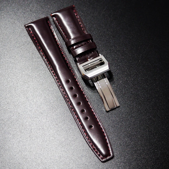 Dark Red Cordovan Leather Watch Strap w/ Deployment Clasp For IWC - Strapholic_錶帶工房, Rolex, IWC, Panerai, AP, Cartier, Tudor, Omega, Watch_Bands