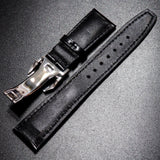 Black Cordovan Leather Watch Strap w/ Deployment Clasp For IWC - Strapholic_錶帶工房, Rolex, IWC, Panerai, AP, Cartier, Tudor, Omega, Watch_Bands